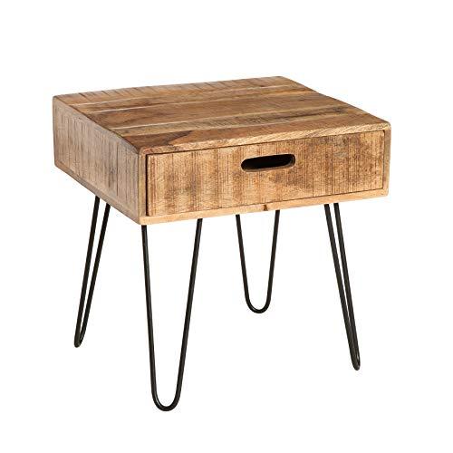 Riess Ambiente Moderner Beistelltisch Scorpion Natural 50cm Mangoholz mit Hairpin Legs Holz Holztisch Massivholz Wohnzimmertisch