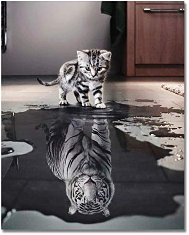 Superlucky Katze Umgekehrt Tiger DIY Malen Nach Zahlen Moderne Tier Wandkunst Bild Zeichnung Handgemalte Leinwand Färbung Wohnkultur Eingerahmt 40x50 cm B07L872F1Z | Hat einen langen Ruf