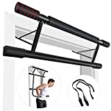 IDEER LIFE Pull Up Bar Doorway Fitness Chin Up Strength Training Bars with Dip Bar & Power Ropes, Foldable Door Bar Ergonomic Grip Trainer Workout for Home Gym Exercise