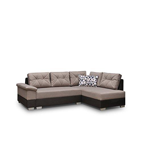 Ecksofa Eckcouch Manhattan ! XXL Sofa Couch mit Bettkasten und Schlaffunktion, Hochelastischer Schaumstoff HR, L-Form Schlafsofa Bettsofa, Große Funktionssofa (Ecksofa Rechts, Soft 019 + Novel 04)
