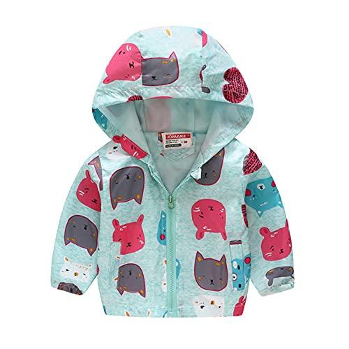 Chaqueta de bebé para niños de verano cortavientos abrigo delgado con capucha chaquetas para niños pequeños dinosaurio protección solar ropa bombardero abrigos animados Tops, Verde menta, 5-6 Años