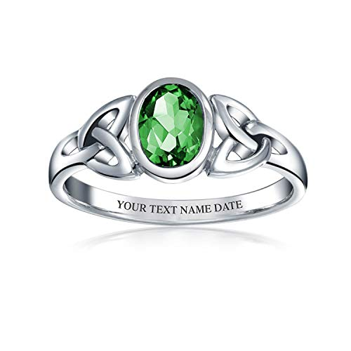 Personalized Triquetra Celtic Knot Ring For Women For Teen Oval Green Simulated Emerald Sterling Silver Custom Engraved