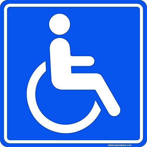 Handicap Stickers Disabled Wheelchair ADA Compliant- 6 in. Indoor/ Outdoor- For Window Door Vinyl Decal Pack of 4