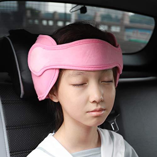 FREESOO Kopfstütze Kindersitz Kinder Auto Kinderkopfstütze für Autositz Nackenstützen für Kinderautositze Einstellbare Kopfstützband Kopfschutz Schlafen Kopfhalterung Kopfgurt Kindersitz Pink