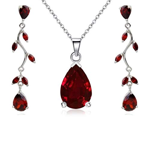 Teardrop Necklace Burgundy Earrings Set with Cubic Zirconia Red Crystal Necklace Pendant Jewelry Sets for Women Ruby Dangle Earrings 18K White Gold Plated Red Jewelry Sets for Women