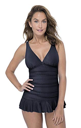 Profile by Gottex Women's Cup Sized V-Neck Swimdress One Piece Swimsuit, Ribbons Black, 14D