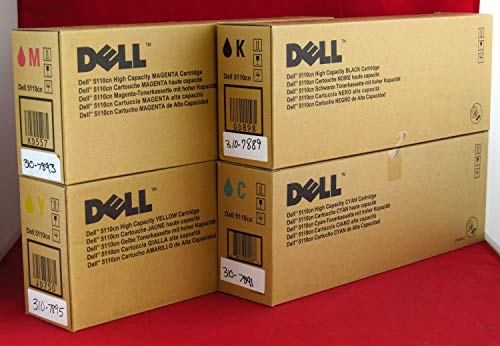 Dell GD898 GD900 KD557 JD750 5110CN 5110N Toner Cartridge Set (Black Cyan Magenta Yellow, 4-Pack) in Retail Packaging