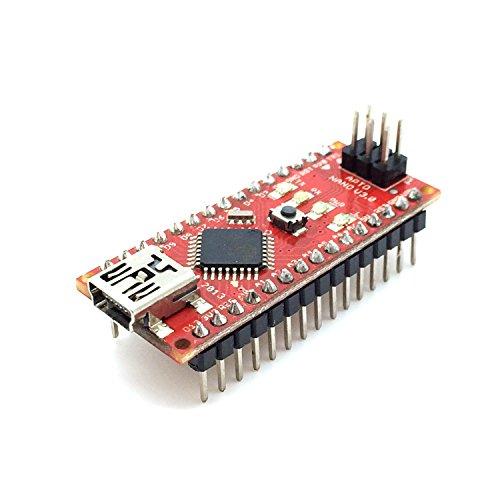 AptoFun Nano V3.0 con scheda di sviluppo chip Org.ATmega328P / FT232RL con cavo USB, compatibile con Arduino (rosso)