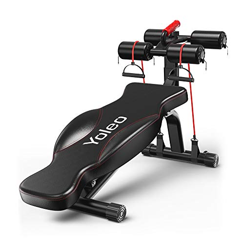 Yoleo Sit Up Bank Rückenlage Bord Hantelbank Bauchtrainer Multifunktionale Fitnessbank Klappbar & verstellbar Trainingsbank Rückentrainer (Black)