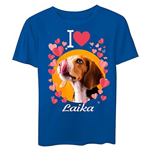 Generico Camiseta personalizada con la foto de tu perro y su nombre turquesa Medium