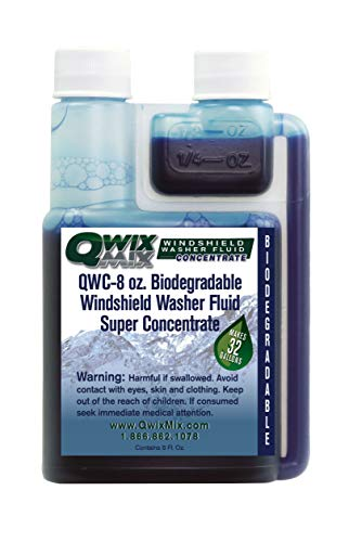 Qwix Mix Windshield Washer Fluid Concentrate, 1 Bottle Makes 32 Gallons, 1/4 oz. Makes 1 Gallon 100% Biodegradable