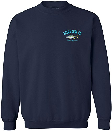 Joe's USA Koloa Surf Yellow Fin Tuna Logo Crewneck Sweatshirt - L-Navy/c
