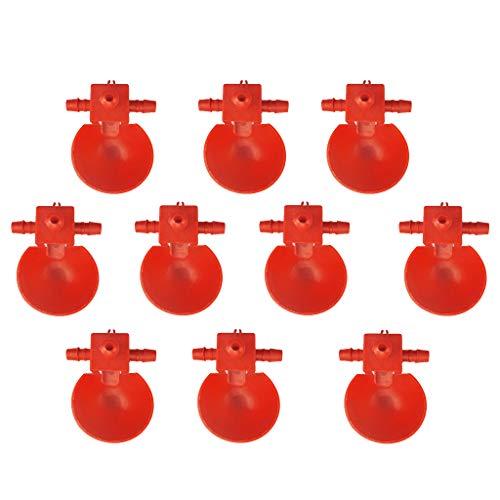 F Fityle 10 Uds Jaula para Pájaros, Gallinero, Alimentador de Codornices, Tazas para Beber, Cuenco de Agua para Pollo, Alimentador Automático de Agua para Palo