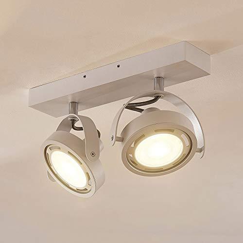 Arcchio LED Deckenlampe 'Munin' (Modern) in Weiß aus Aluminium u.a. für Wohnzimmer & Esszimmer (2 flammig, GU10, A+, inkl. Leuchtmittel) - Deckenleuchte, Wandleuchte, Strahler, Spot, Lampe
