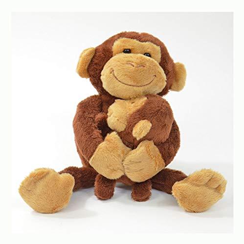 Kögler 75955 - Labertier Affe mit Baby Nana und Coco, ca. 23 cm groß, nachsprechendes Plüschtier mit Aufnahme- und Wiedergabefunktion, plappert alles witzig nach und bewegt sich, batteriebetrieben