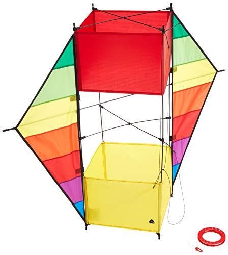 HQ 106373 - F-Box Beach Rainbow Kastendrachen Einleiner, ab 8 Jahren, 85x100cm, inkl. 17kp Polyesterschnur 40m auf Spule, 1-5 Beaufort