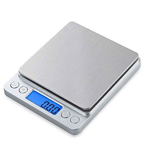 HULUWAWA Inicio Carga USB Báscula de Cocina de Acero Inoxidable, Helect 3kg Multifunción de Alimentos Báscula de Mini Joya Básculas de básculas electrónicas pequeñas (Tamaño : 3kg)