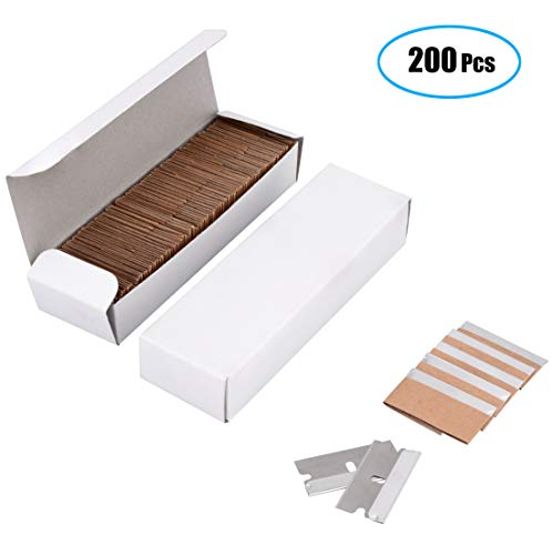 Venhua 200 Pack Single Edge Industrial Razor Blades Economy Single Edge Cutter Blade, Standard Single Edge Razor Blade for Removing Paint, Mastic, Stickers, Putty or Decals, 1.5x0.75 inches