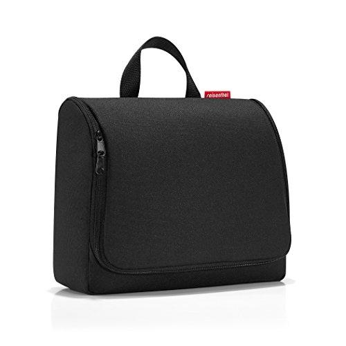 reisenthel toiletbag XL WO7003 in black – Kulturbeutel mit 4l Volumen – Aufklappbar mit Haken zum Aufhängen und Spiegel – B 28 x H 25 x T 10 cm