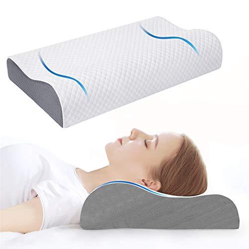 Almohada Viscoelastica, Almohada cervical Ergonomica con funda de almohada, contorno blanco cama Almohada de espuma de memoria para dormir de lado