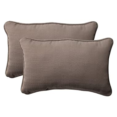 Pillow Perfect Indoor/Outdoor Forsyth Corded Rectangular Throw Pillow, Taupe, Set of 2
