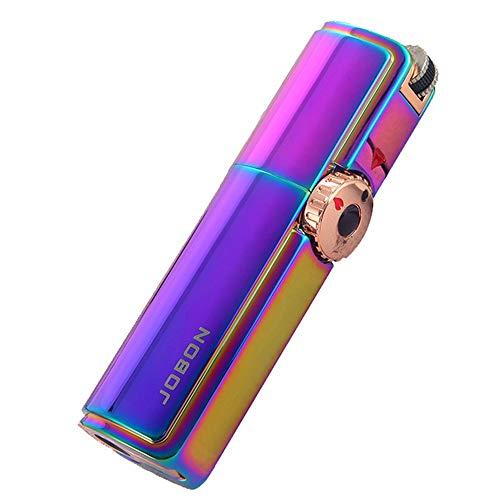 Encendedor de Antorcha a Prueba de Viento Ajustable Triple Potente Llama a Chorro Encendedor de Cigarros Recargable a Gas Resistente Regalo para Hombres (Butano No Incluido),Rainbow