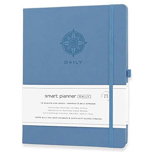 Smart Planner Daily 2020-2021 – Alcance objetivos e aumente a produtividade, gerenciamento de tempo e felicidade – Agenda diária semanal mensal com diário de gratidão, capa dura, sem data (azul)