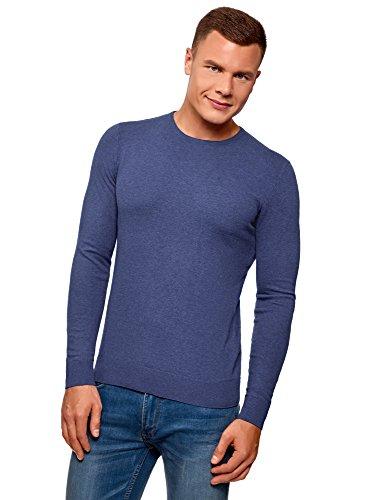 oodji Ultra Hombre Jersey Básico con Cuello Redondo, Azul, ES 50 / M
