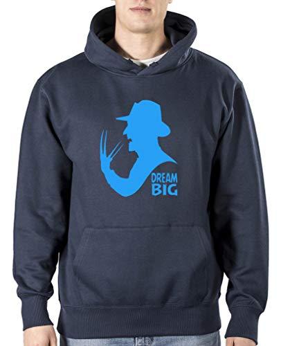 Comedy Shirts Dream Big Freddy Sweat à capuche pour homme avec poche kangourou à manches longues - Bleu - Taille M
