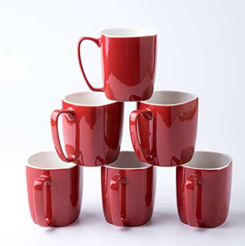 Amuse- Professional Porcelain Bistro Collection Daily Mugs- Set of 6-14 oz (Scarlet Red)