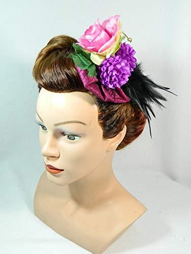 Fascinator pink schwarz Blumen Blumenkind Headpiece Burlesque Damenhut Minihat Kopfputz Haarschmuck