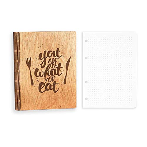Wooden Blank Recipe Book to Write in (8.5 x 6.7 inch) A5 size - Cook Book with 80 Sheets for Handwritten Recipes - Bundle with Additional Set of 80 Dotted Sheets