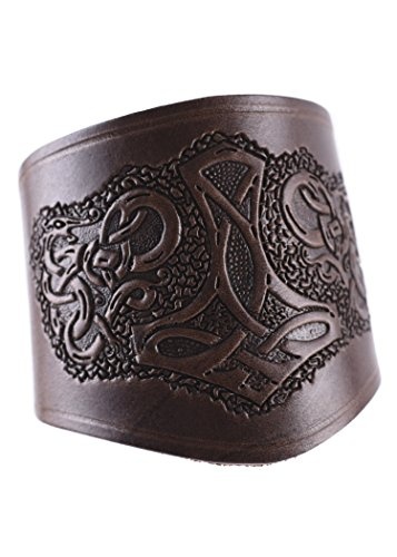 Battle-Merchant Armschützer aus Leder, mit Thorshammer, kurz - Armband Armstulpe Wikinger LARP Mittelalter Farbe braun