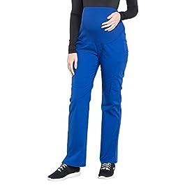 Cherokee Workwear Professionals Maternity Straight Leg Scrub Pant, M Petite, Galaxy Blue