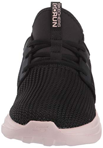 Skechers Women's GO Run Fast, Zapatillas Mujer, Negro Negro Negro Textil Pink Trim Bkpk, 38.5 EU