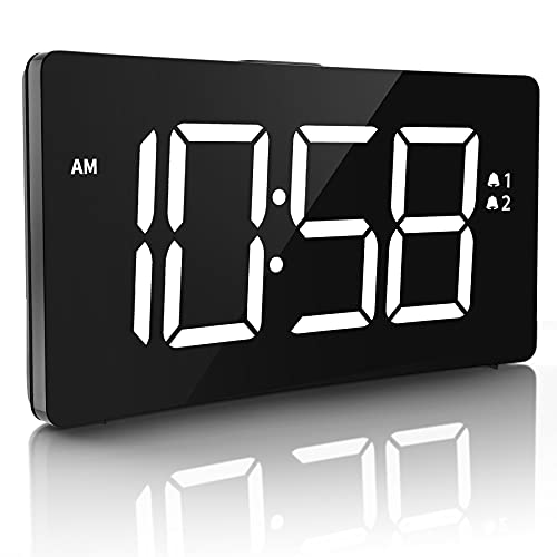 Digital Alarm Clock, LED Bedside Clock with 6-Level Brightness, Dual Alarm, Adjustable Volume with 3 Alarm Sound, Alarm Clock for Bedroom Office, Clear Digit Curved Screen(No USB Power Adapter)