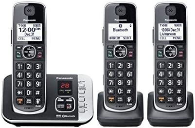 Panasonic Cordless Phone with Link to Cell and Digital Answering Machine 3 Handsets Black KX product image