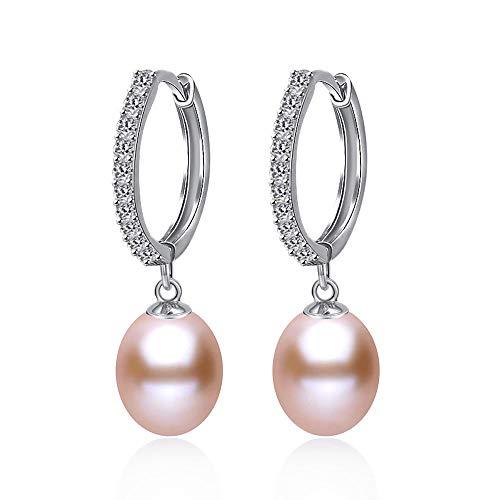 Kim johanson Mujer Perla Pendientes * Nora * DE PLATA de ley 925con Auténtica Piedra Chen cubierto pendientes con perlas de agua dulce y circonitas y rosa joyas bolsa