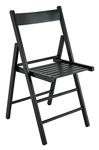4 sedie pieghevoli legno di faggio FSC cucina sala da pranzo impilabili giardino (nero)