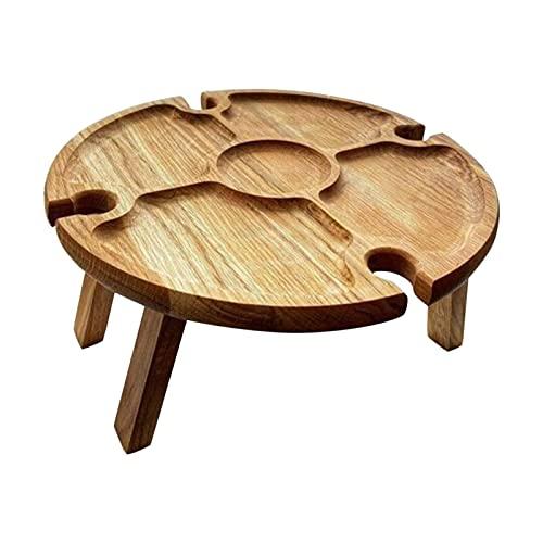 Hölzerner tragbarer Massivholz-2-in-1-Picknick-Weintisch aus Holz mit versenkbaren Beinen Runder Faltbarer Schreibtisch Weinglas Handgefertigter Kunst-Weintisch für den Außenbereich, Garten, Reisen