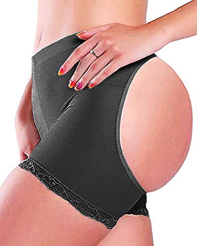 Women Butt Lifter Body Shaper Tummy Control Panties Enhancer Underwear Girdle Booty Lace Shapewear Boy Shorts Seamless (Black, L)