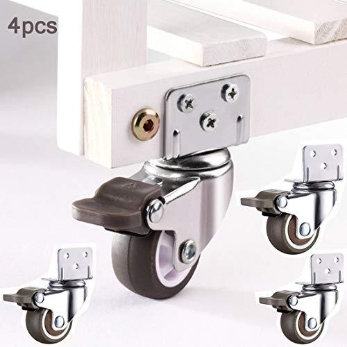 VOCD 4 möbelrollen mit Bremse Klein Rollen für Möbel + Schrauben,Rollen mit Bremse möbelrollen klein Transportrollen Set Lenkrollen 360° Grad drehbar
