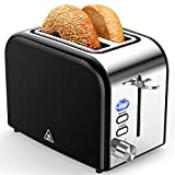 Toasters 2 Slice Best Rated Prime Wide Slot 2 Slice Toaster 1.5in with Bagel/Reheat/Cancel Function Stainless Steel Cool Touch Black Toaster for Bread with Removable Crumb Tray (Black)