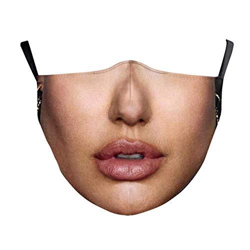 eBoutik Gesichtsmasken mit Filterschlitz - männlicher Mann lustiges Gesicht Design - wiederverwendbar atmungsaktiv waschbar bei 60 Grad Gesichtsbedeckungen (Lady Pout)