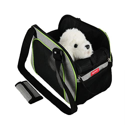 Highkit Bolsa Bandolera para Mascotas Transpirable,Bandolera Ajustable Bolsos de Transporte Plegable para Perros y Gatos pequeños (Verde)