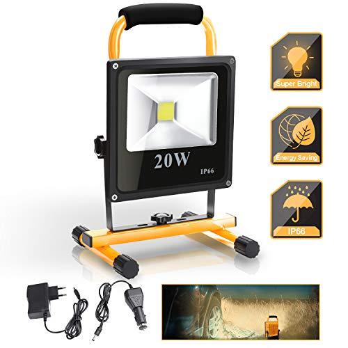 wolketon LED Baustrahler 20W 1600LM, 3000K Warmweiß, Akku Strahler, IP66 Wasserdicht, Arbeitsscheinwerfer Arbeitsleuchte, Tragbare Werkstattlampen für Baustelle Arbeiten Autoreparatur