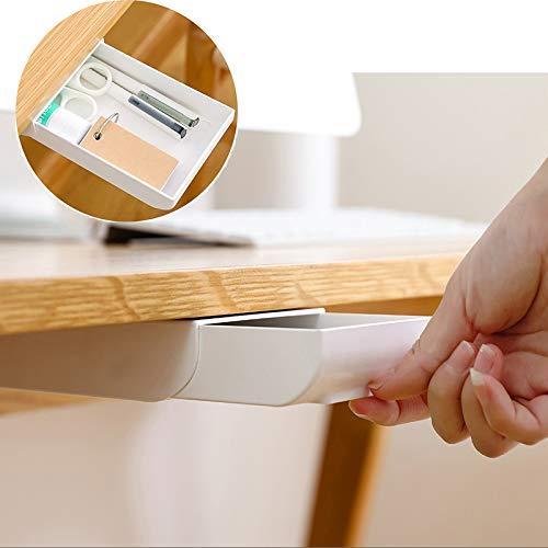 USAMS Schublade unter Schreibtisch, Selbstklebend Organizer Box zur Aufbewahrung klein Aufbewahrungsbox kleben versteckt unter Tisch Stiftebox Ablage für Büro Schule Stifte (1 Pack, Weiß)