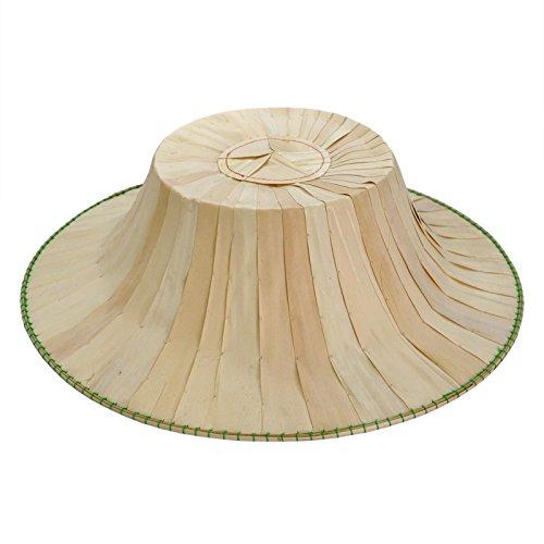 Chapeau de Soleil fabriqué à la Main, Paille Naturelle, Bambou, décoration Artisanale (80078)