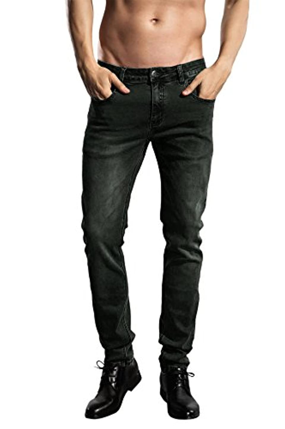 ZLZ Slim Fit Jeans, Men's Younger-Looking Fashionable Colorful Super Comfy Stretch Skinny Fit Denim Jeans gmspfajhypf5