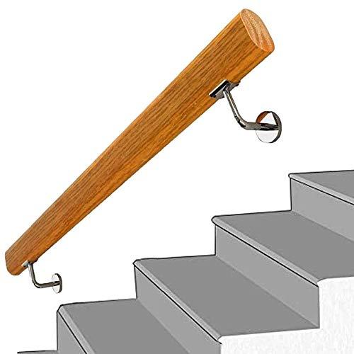 Handrail - Kit completo.1-20 pies Riel de escalera de madera sólida antideslizante, montaje en pared Inicio Loft Barandillas de edad avanzada Barra de soporte de corredor, barandillas de cubierta (Tam